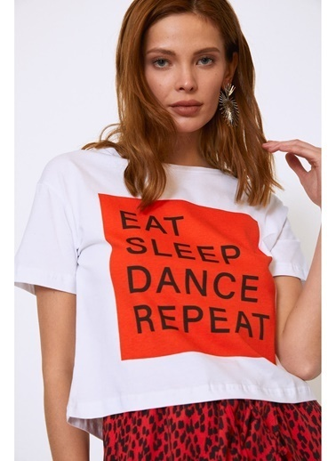 Quzu Quzu Beyaz Baskılı T-Shirt Beyaz